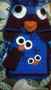 Handmade Owl Hat, Gloves and Scarf